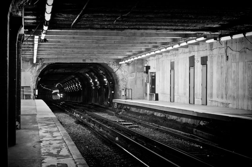 3735155 - gloomy looking old subway tunnel in boston massachusetts